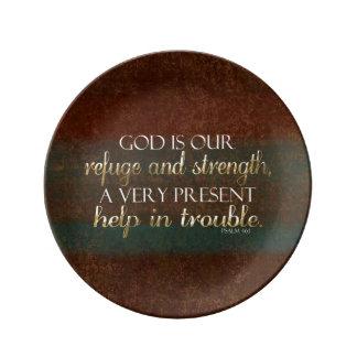 神は私達の非難のキリスト教の聖書の詩ブラウンまたは金ゴールドです 磁器プレート
