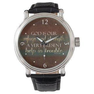 神は私達の非難のキリスト教の聖書の詩ブラウンまたは金ゴールドです 腕時計