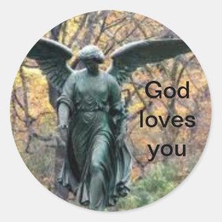 神は秋の森のステッカーの天使愛します ラウンドシール