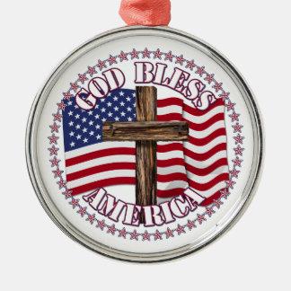 神は米国の旗50の星が付いているアメリカそして十字を賛美します メタルオーナメント