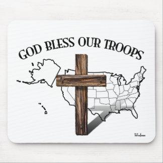 神は険しい十字及び米国のoutineの私達の軍隊を賛美します マウスパッド