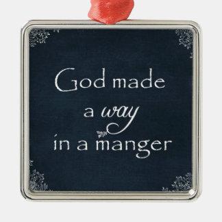 神は飼い葉桶の引用文の方法を作りました メタルオーナメント