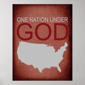 神ポスターの下の1つの国家(赤い) ポスター