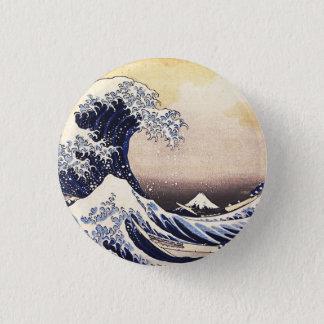 神奈川のヴィンテージの日本人の芸術を離れた素晴らしい波 3.2CM 丸型バッジ