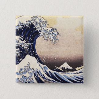 神奈川のヴィンテージの日本人の芸術を離れた素晴らしい波 5.1CM 正方形バッジ