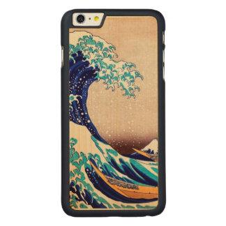 神奈川の日本のなヴィンテージのファインアートを離れた素晴らしい波 CarvedメープルiPhone 6 PLUS スリムケース