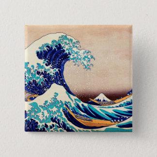 神奈川の日本のなヴィンテージのプリントの芸術を離れた素晴らしい波 5.1CM 正方形バッジ