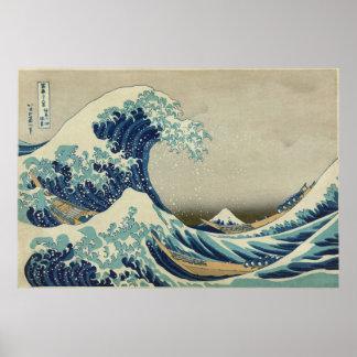 神奈川を離れた素晴らしい波 ポスター