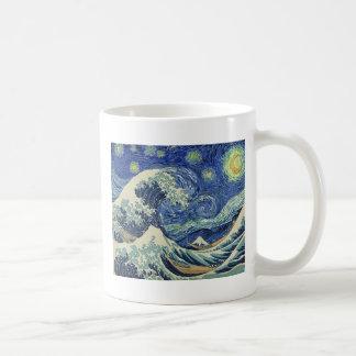 神奈川を離れた素晴らしい波-星明かりの夜 コーヒーマグカップ