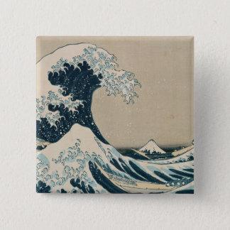 神奈川を離れた素晴らしい波 5.1CM 正方形バッジ