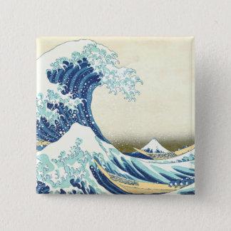 神奈川ボタンを離れたKatsushikaの素晴らしい波 5.1cm 正方形バッジ
