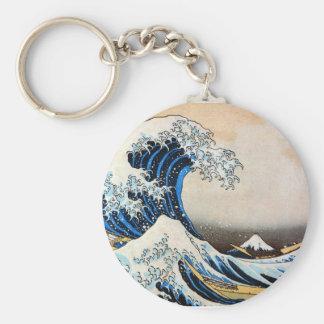 神奈川沖浪裏、北斎の素晴らしい波、Hokusai ベーシック丸型缶キーホルダー
