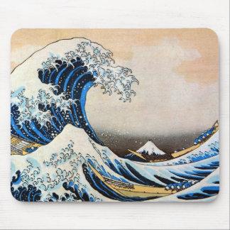 神奈川沖浪裏、北斎の素晴らしい波、Hokusai マウスパッド