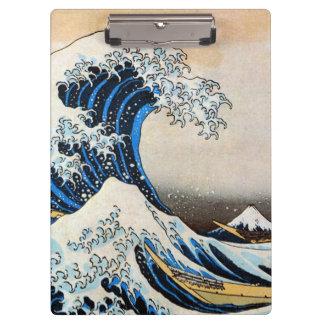 神奈川沖浪裏、北斎の素晴らしい波、Hokusai、Ukiyo-e クリップボード