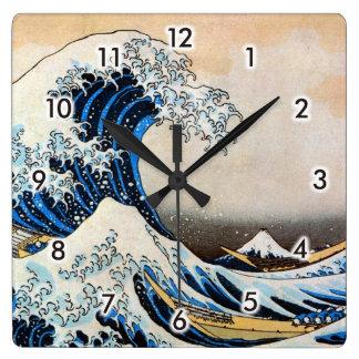 神奈川沖浪裏、北斎の素晴らしい波、Hokusai、Ukiyo-e スクエア壁時計