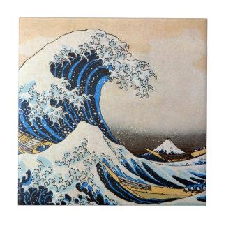神奈川沖浪裏、北斎の素晴らしい波、Hokusai、Ukiyo-e タイル