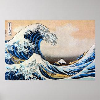 神奈川沖浪裏、北斎の素晴らしい波、Hokusai、Ukiyo-e プリント