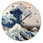 神奈川沖浪裏、北斎の素晴らしい波、Hokusai、Ukiyo-e ラージ壁時計