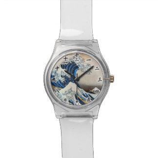 神奈川沖浪裏、北斎の素晴らしい波、Hokusai、Ukiyo-e 腕時計