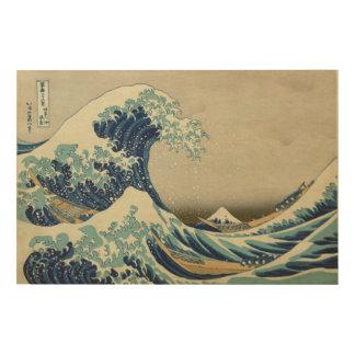 神奈川- Hokusaiの葛飾北斎を離れた素晴らしい波 ウッドウォールアート