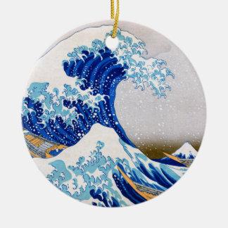 神奈川、Hokusaiを離れた素晴らしい波 セラミックオーナメント