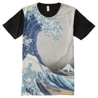 神奈川Hokusaiのファインアートを離れた北斎の素晴らしい波 オールオーバープリントT シャツ
