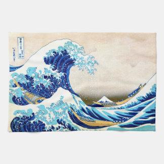 神奈川Hokusaiのファインアートを離れた北斎の素晴らしい波 キッチンタオル