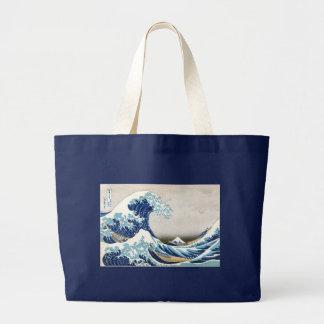 神奈川Hokusaiのファインアートを離れた北斎の素晴らしい波 ラージトートバッグ