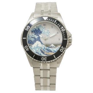 神奈川Hokusaiのファインアートを離れた北斎の素晴らしい波 腕時計