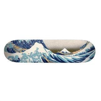 神奈川Hokusaiのファインアートを離れた北斎の素晴らしい波 21.6cm オールドスクールスケートボードデッキ