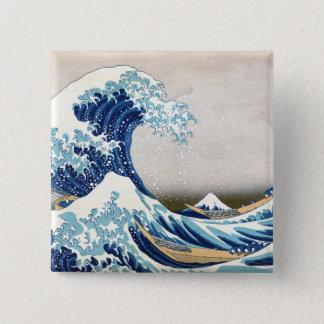神奈川Hokusaiのファインアートを離れた北斎の素晴らしい波 5.1cm 正方形バッジ