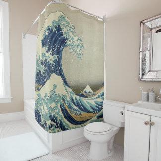 神奈川Hokusaiの有名な波日本を離れた素晴らしい波 シャワーカーテン
