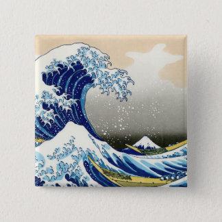 神奈川Katsushika Hokusaiを離れた大きい波 5.1cm 正方形バッジ