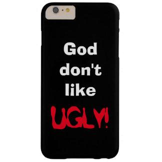 """""""神好みません醜い!""""は 黒い装置カバー BARELY THERE iPhone 6 PLUS ケース"""