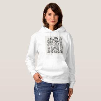 神秘的なスカルインクスケッチのフード付きスウェットシャツ、女性 パーカ