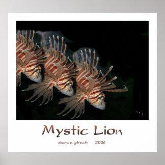 神秘的なライオンの芸術のプリント ポスター