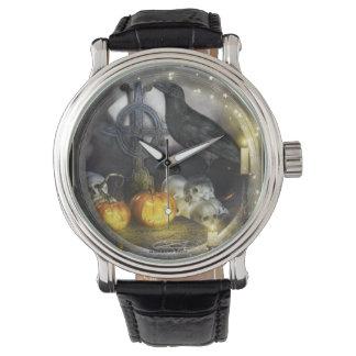 神秘的なワタリガラスの芸術の腕時計 腕時計