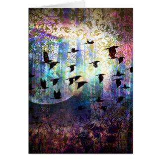 神秘的な森林およびワタリガラスの月の挨拶状 カード