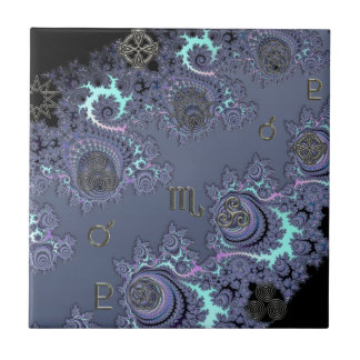 神秘的な濃紺の(占星術の)十二宮図の印の蠍座 タイル