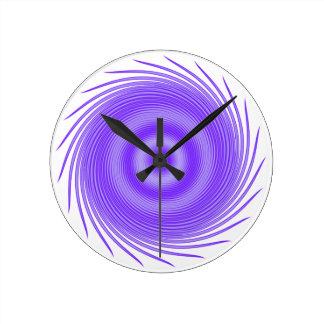 神秘的な紫色の渦 ラウンド壁時計