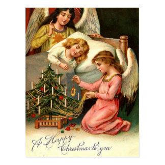神聖なクリスマスは天使のヴィンテージをからかいます ポストカード