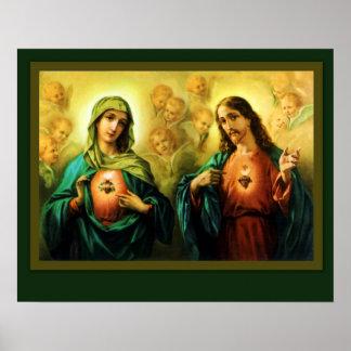 神聖なハートイエス・キリスト及びメリーの完全なハート ポスター