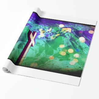 神聖な十字の紫色の地球の輝きの包装紙 包み紙
