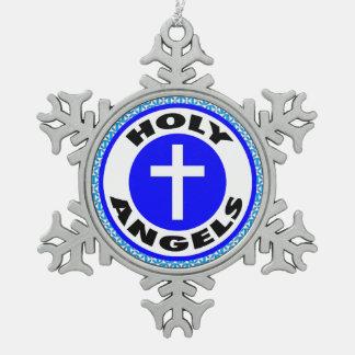 神聖な天使 スノーフレークピューターオーナメント