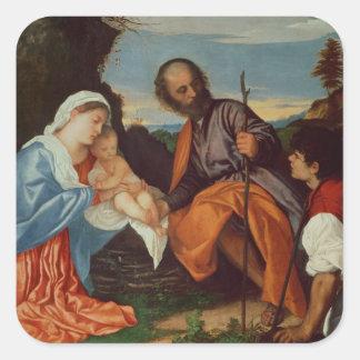 神聖な家族および羊飼い、c.1510 スクエアシール