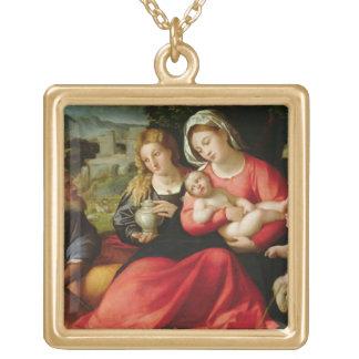 神聖な家族、c.1508-12 (キャンバスの油) ゴールドプレートネックレス