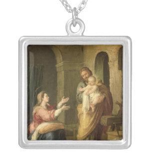神聖な家族、c.1660-70 シルバープレートネックレス