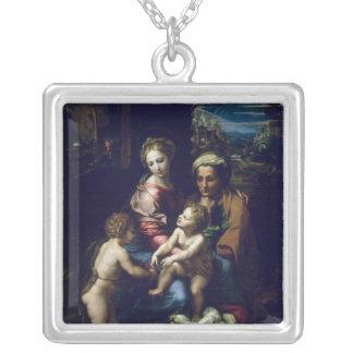 神聖な家族c.1518 シルバープレートネックレス
