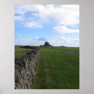 神聖な島の城Lindisfarne ポスター