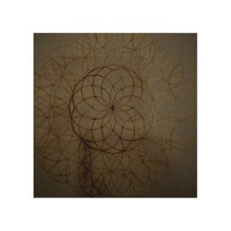 神聖な幾何学の花の円 ウッドウォールアート